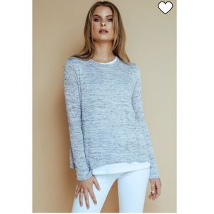Olivaceous gray and white top